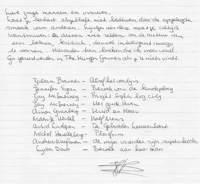 Boekenlijst-Hanna-Bervoets-handschrift-WritLit-Nick-Muller-HP-De-Tijd