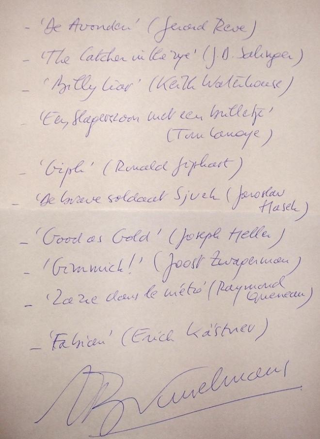 Handschrift-Herman-Brusselmans-leeslijst-voor-HP-De-Tijd-Nick-Muller