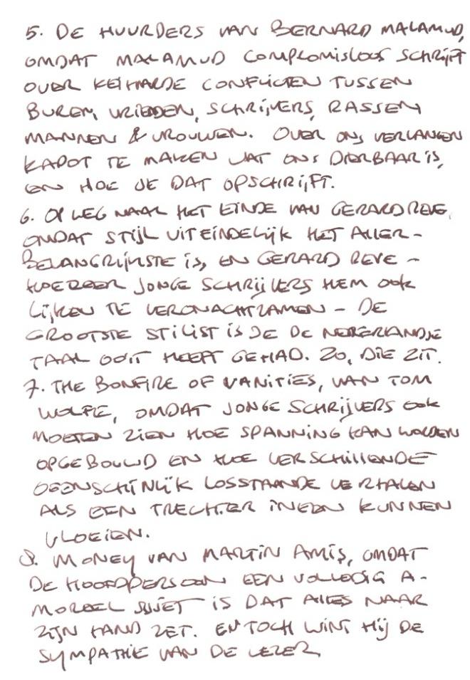 Leeslijst-II-van-Ronald-Giphart-handgeschreven-2014-Nick-Muller-HP-De-Tijd