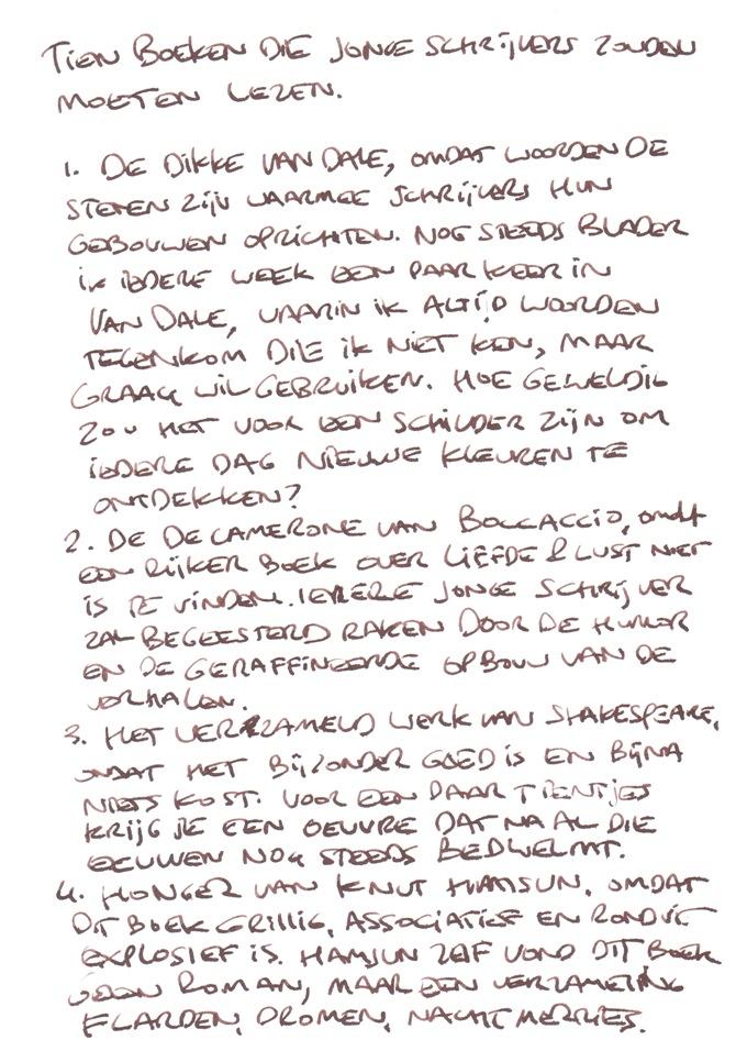 Leeslijst-Ronald-Giphart-handschrift-voor-HP-De-Tijd-Nick-Muller-deel-1