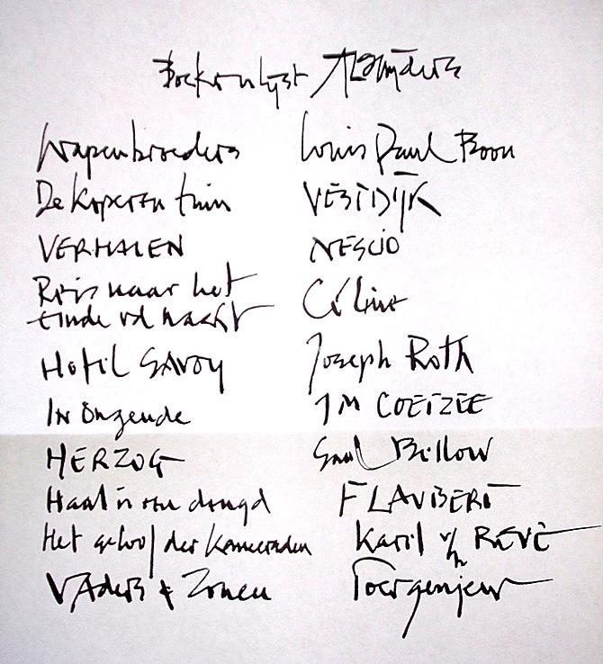 Leeslijst-van-A.L.-Snijders-handschrift-Nick-Muller-HP-De-Tijd