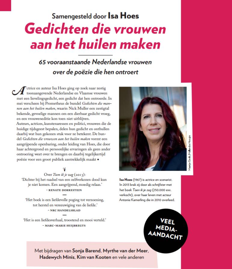 Gedichten vrouwen huilen Isa Hoes prometheus gedichten Nick Muller poëzie bloemlezing Sonja Barend Kim van Kooten Astrid Joosten