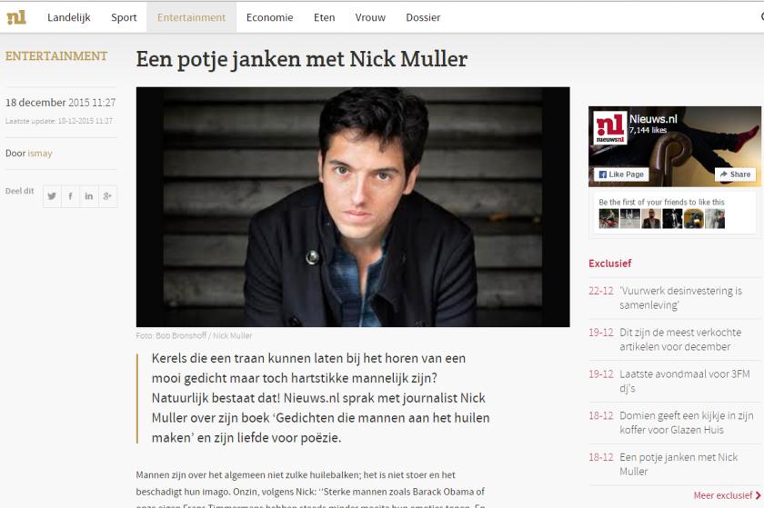 Nick Muller interview Nieuws.nl gedichten die mannen aan het huilen maken poezie in carré