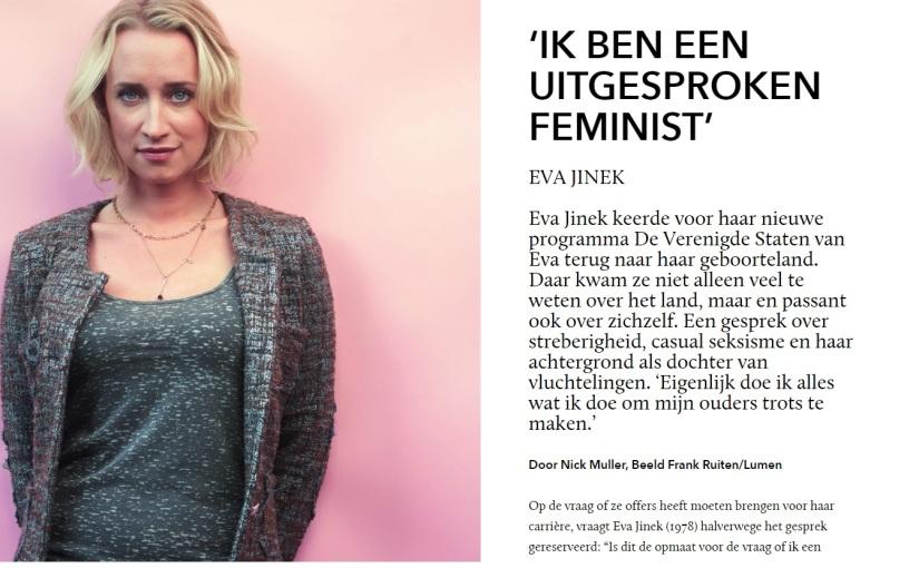 Eva Jinek: 'Ik ben een uitgesprokenfeminist'